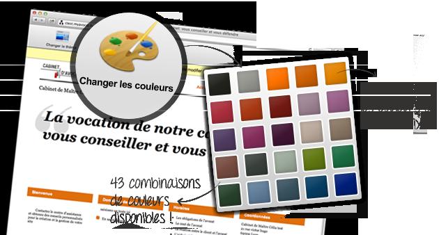 panels de couleurs disponibles